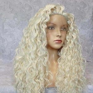 Glueless Lace Front Long Curly Platinum Blonde